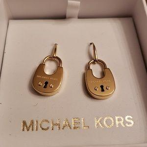 Michael Kors Nwt Gold Padlock Earrings